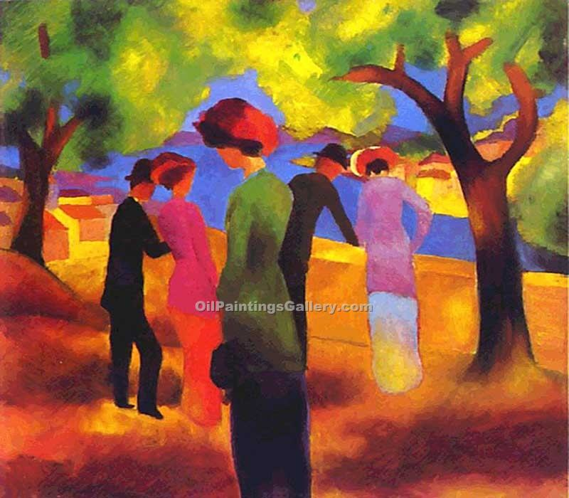 Woman in a Green Jacket 45 by August Macke | Landscape Paintings