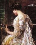 Woman with Guitar 40 by  James Carroll Beckwith (Painting ID: CL-3240-KA)