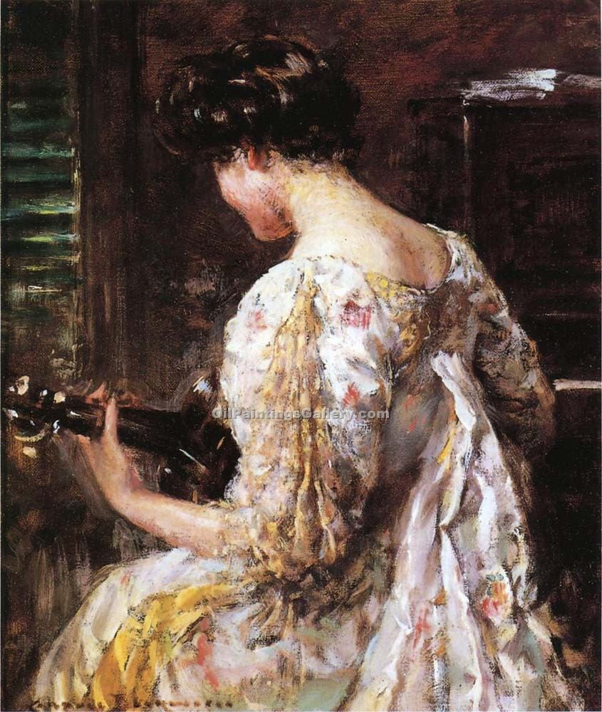 """Woman with Guitar 40"" by  James Carroll Beckwith"