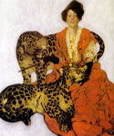 Woman with Leopards by  Sarah Stilwell Weber (Painting ID: AN-0106-KA)