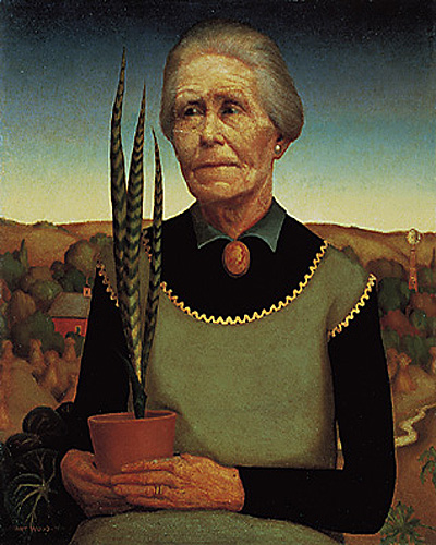 """Woman with Plants"" by  Grant Wood"