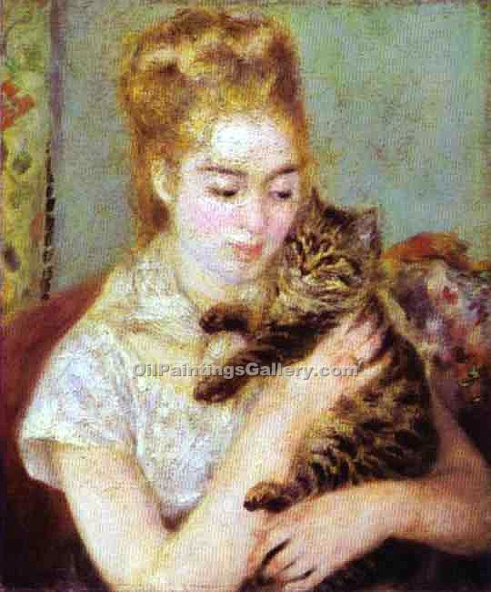 """Woman with a Cat"" by  Pierre Auguste Renoir"