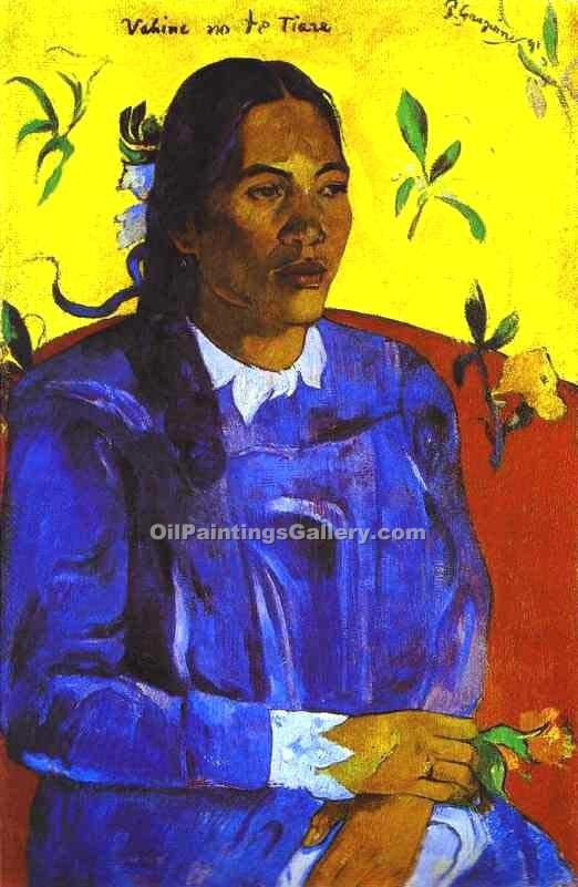 """Woman with a Flower"" by  Paul Gauguin"