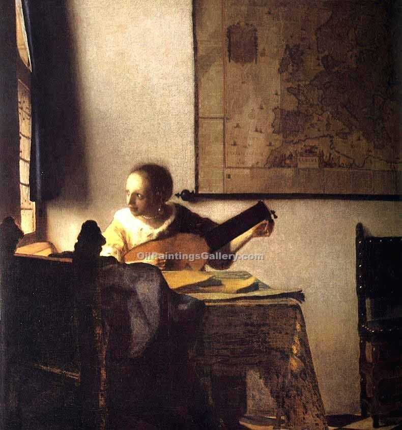 """Woman with a Lute near a Window"" by  Jan Vermeer"