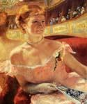 Woman with a Pearl Necklace in a Loge by  Mary Cassatt (Painting ID: CL-3551-KA)