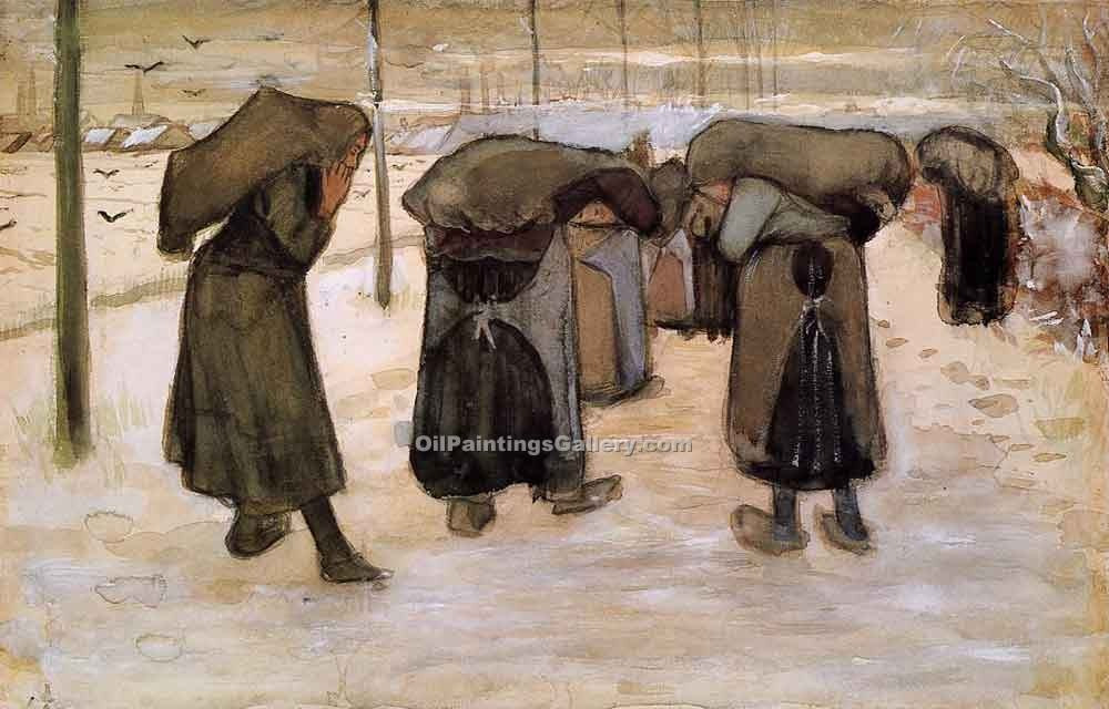 Women Miners Carring Coal by Vincent Van Gogh | Contemporary Abstract Artists - Oil Paintings Gallery