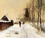Wood Gathering on a Country Lane in Winter by  Louis Apol (Painting ID: LA-1714-KA)