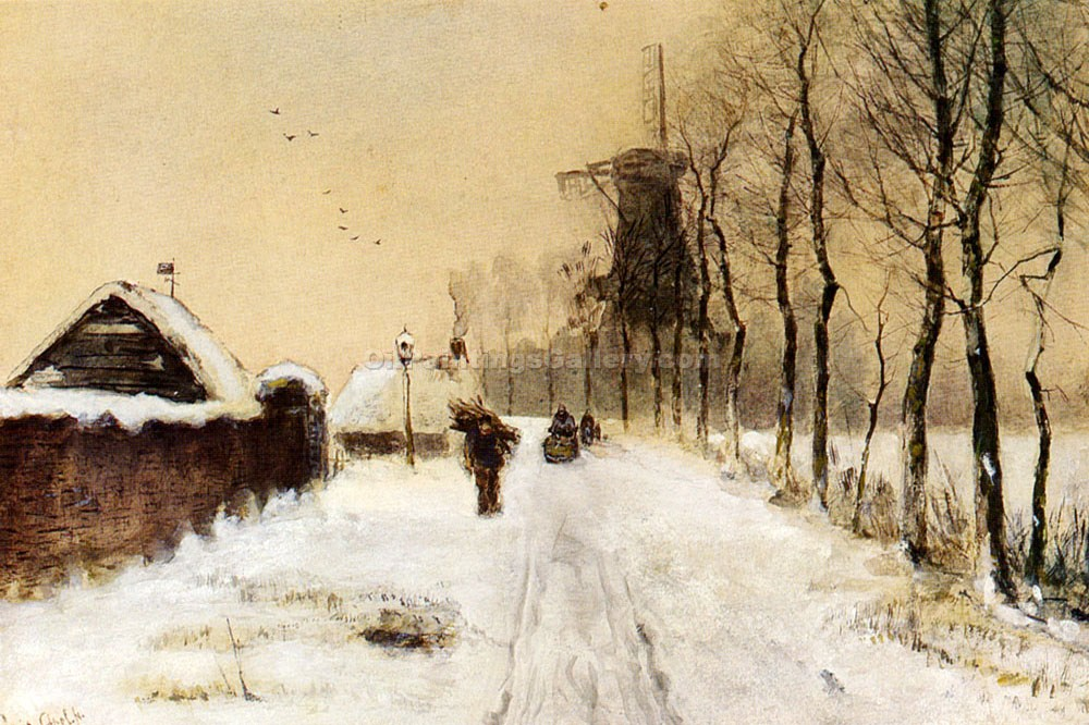 """Wood Gathering on a Country Lane in Winter"" by  Louis Apol"