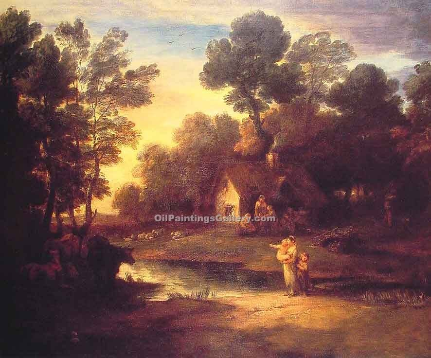 """Wooded Landscape with Cattle by a Pool"" by  Thomas Gainsborough"