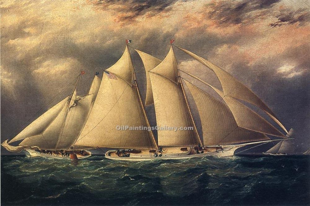 """Yacht Alice Rounding the Buoy"" by  James E Buttersworth"
