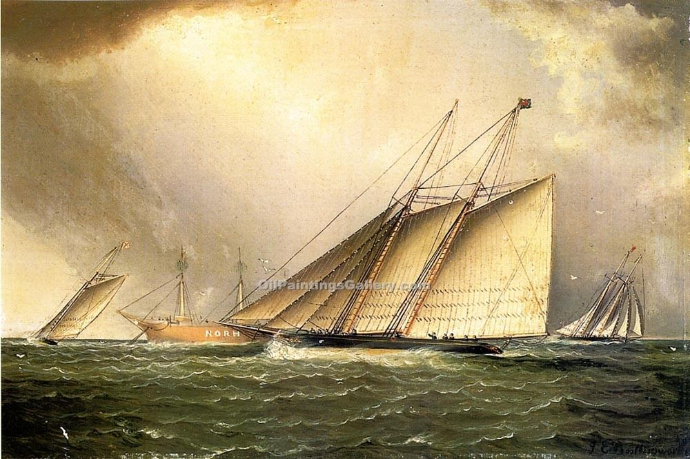"""Yachts Rounding the Nore Light Ship in the English Channel"" by  James E Buttersworth"