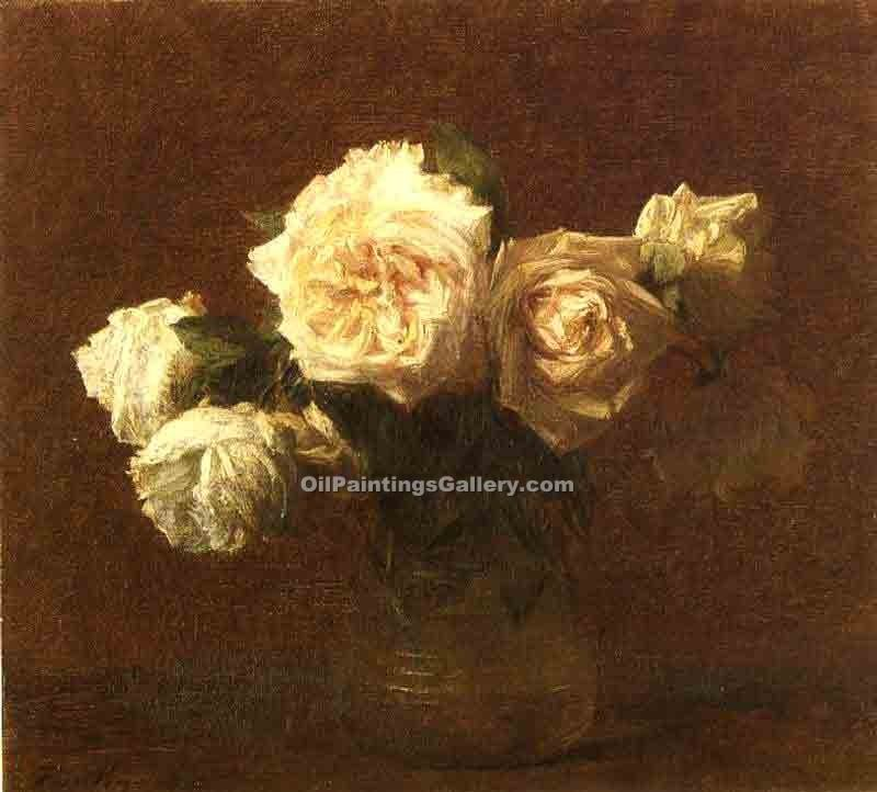 """Yellow Pink Roses in a Glass Vase"" by  Henri Fantin Latour"