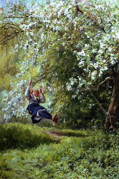 Young Girl on a Swing by Frank William Topham | Oil Paintings Website - Oil Paintings Gallery