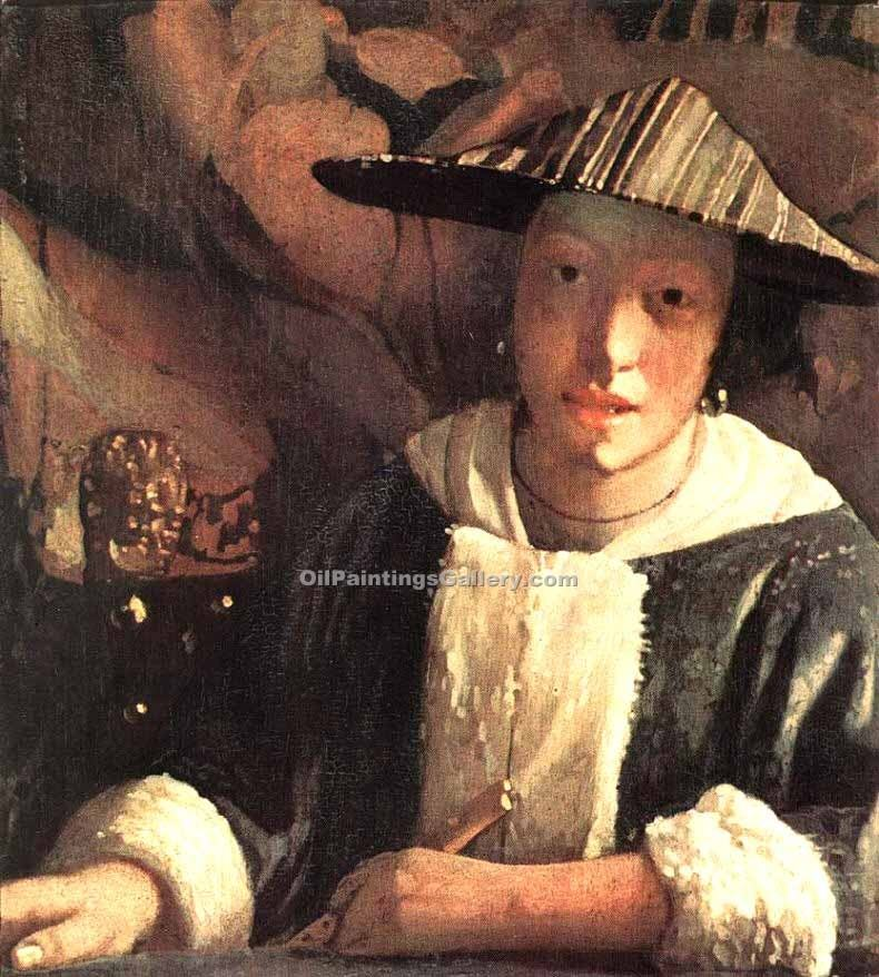 Young Girl with a Flute by Vermeer Jan | Landscape Art - Oil Paintings Gallery