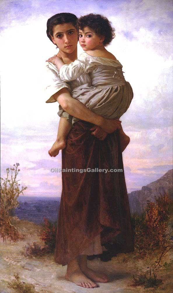 """Young Gypsies"" by  Adolphe Bouguereau"