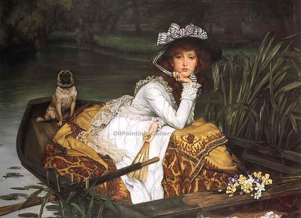 """Young Lady in a Boat"" by  James Tissot"