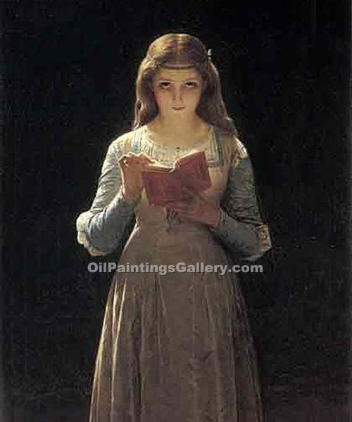 """Young Maiden Reading a Book"" by  Pierre Auguste Cot"