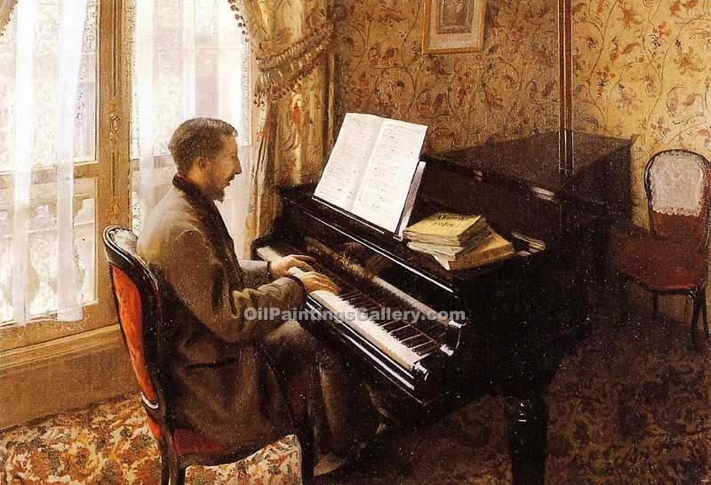 """Young Man Playing the Piano"" by  Gustave Caillebotte"