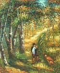 Young Man Walking with Dogs Oil Painting (ID: CM-1011-A)