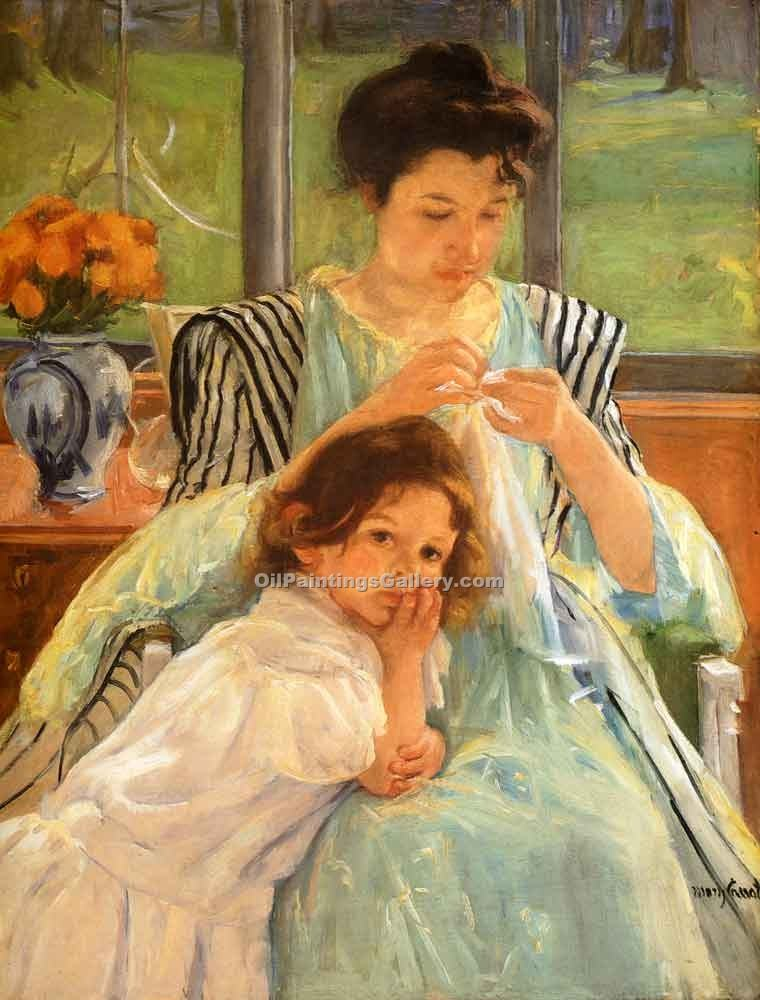 """Young Mother Sewing"" by  Mary Cassatt"