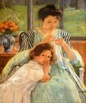 Young Mother Sewing by  Mary Cassatt (Painting ID: EI-0010-KA)