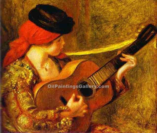 """Young Spanish Woman with a Guitar"" by  Pierre Auguste Renoir"