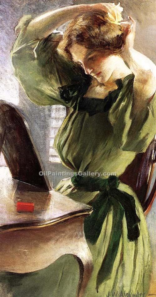 Young Woman Arranging Her Hair by Alexander John White | Contemporary Art Paintings - Oil Paintings Gallery