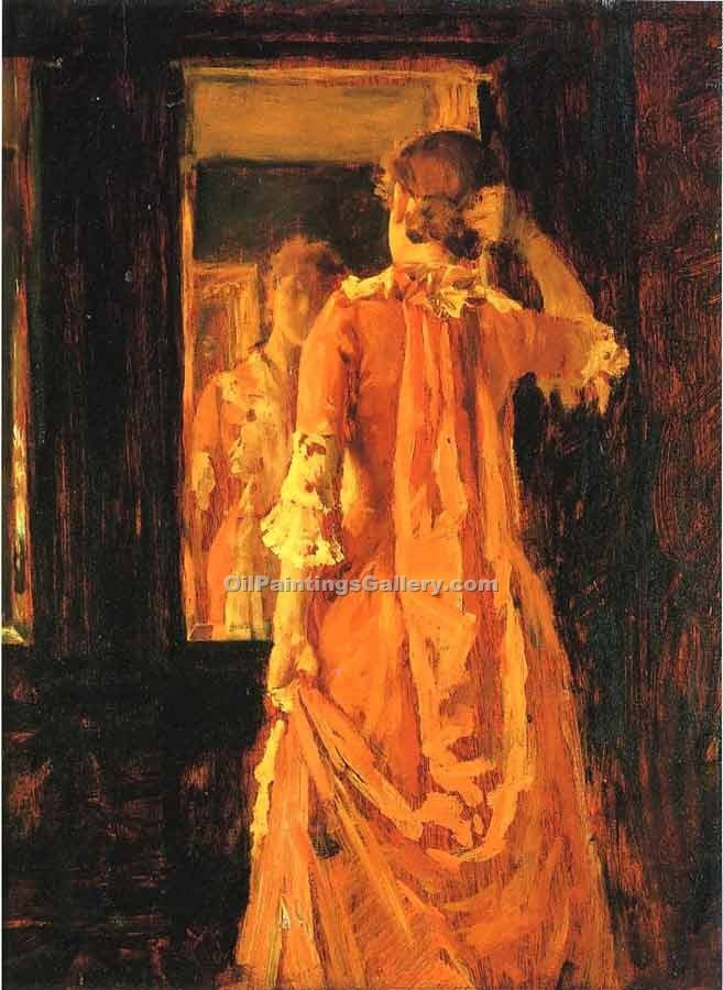 """Young Woman Before a Mirror"" by  William Merritt Chase"
