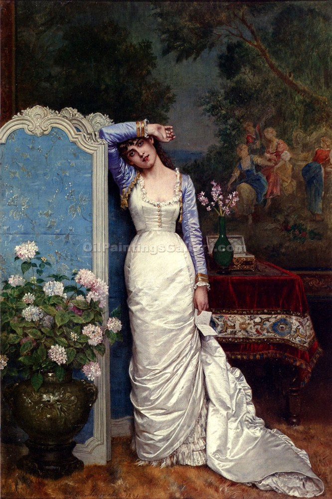Young Woman In An Interior by AugusteToulmouche | Modern Art Online Gallery - Oil Paintings Gallery