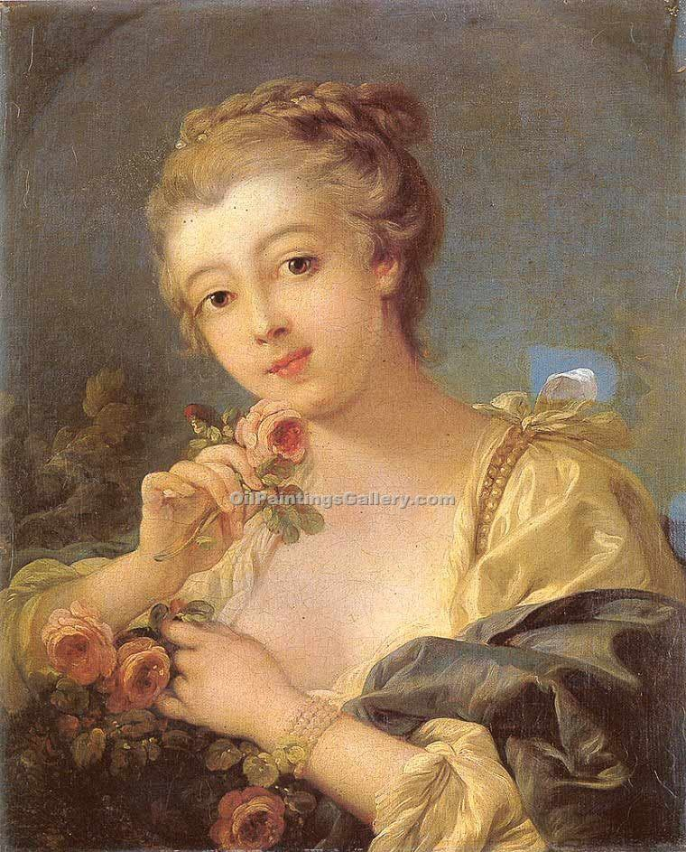 Young Woman with a Bouquet of Roses by Boucher Francois | Canvas Oil Painting - Oil Paintings Gallery