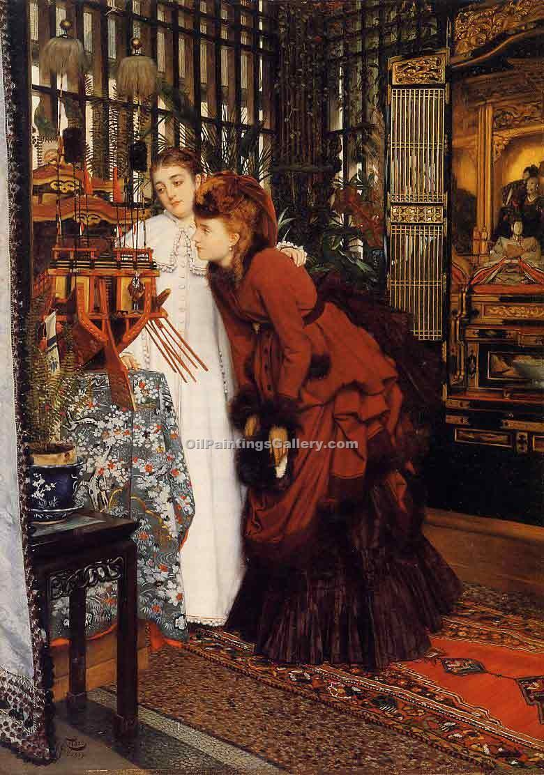 """Young Women Looking at Japanese Objects 61"" by  James Tissot"