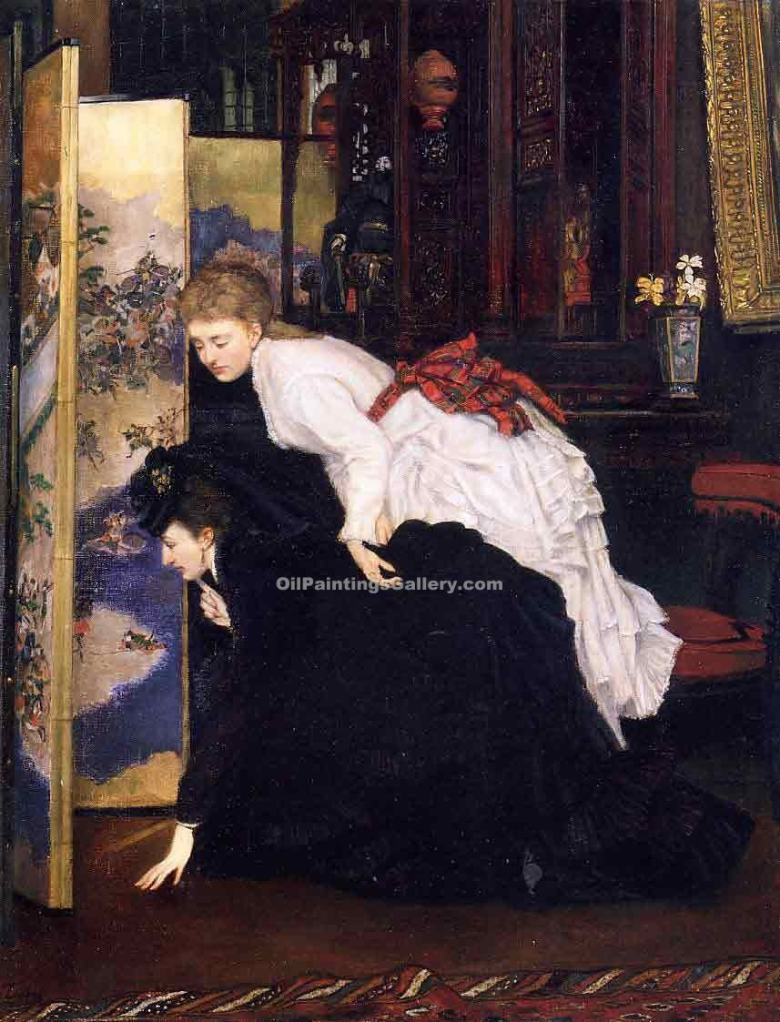 Young Women Looking at Japanese Objects 62 by James Tissot | Black And White Painting - Oil Paintings Gallery