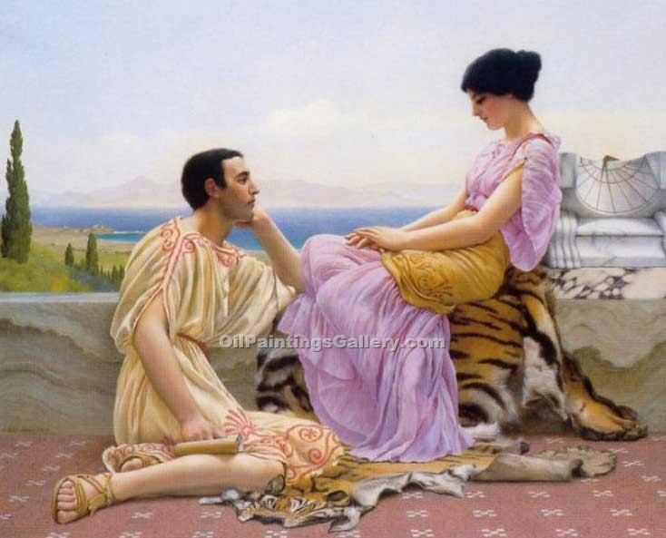 Youth and Time by John William Godward | Online Canvas Painting - Oil Paintings Gallery