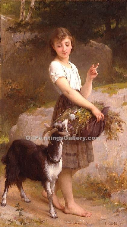 """young girl with goat and flowers"" by  Emile Munier"