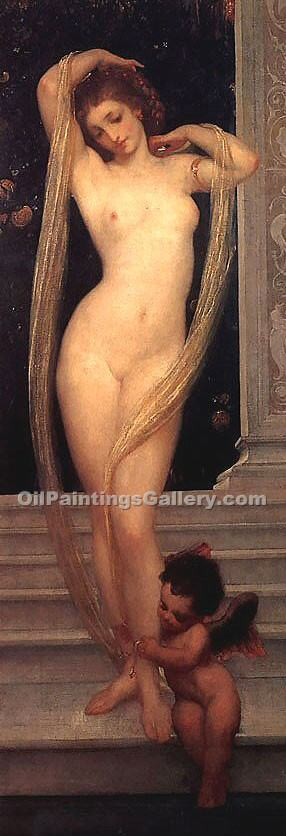 A Bather by Leighton Frederic | Oil Paintings Portraits - Oil Paintings Gallery