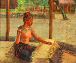 A Mat Weaver in Samoa by  Theodore Wores (Painting ID: ER-0214-KA)