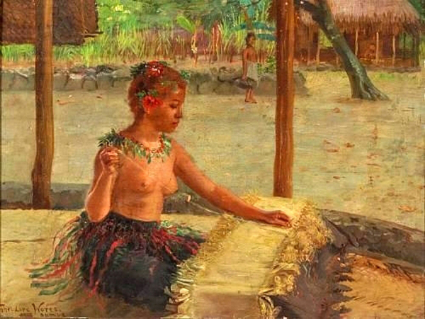 """A Mat Weaver in Samoa"" by  Theodore Wores"