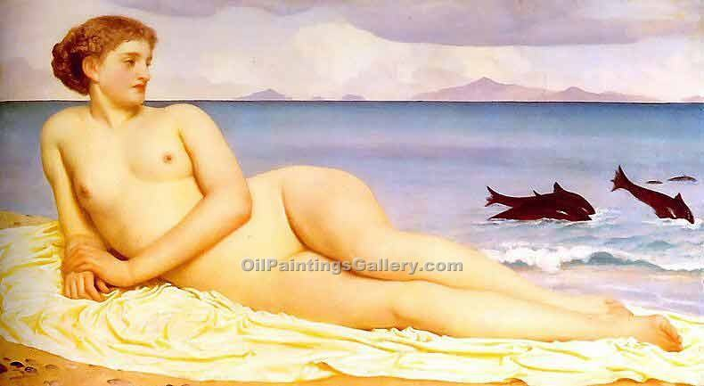 Actaea, the Nymph of the Shore by Leighton Frederic | Oil Painting Gallery - Oil Paintings Gallery