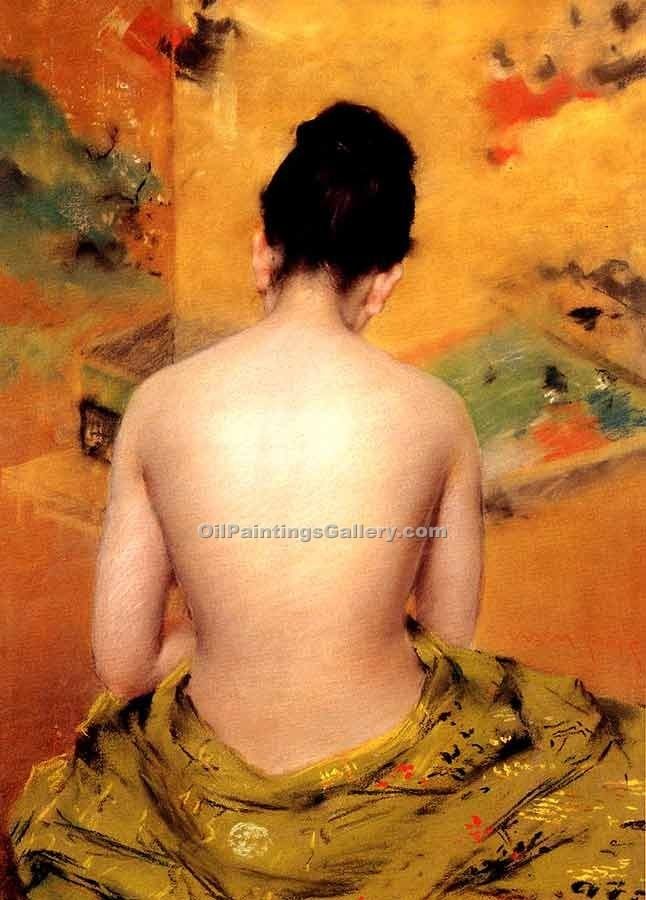 """Back of a Nude"" by  William Merritt Chase"