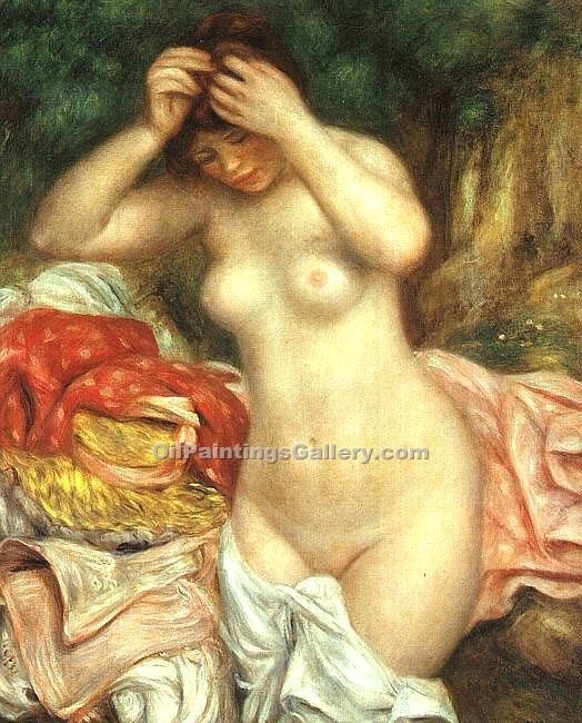 Bather Arranging Her Hair by Pierre Auguste Renoir | Landscape Paintings - Oil Paintings Gallery