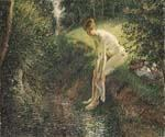 Bather in the Woods by  Camille Pissarro (Painting ID: EI-6907-KA)