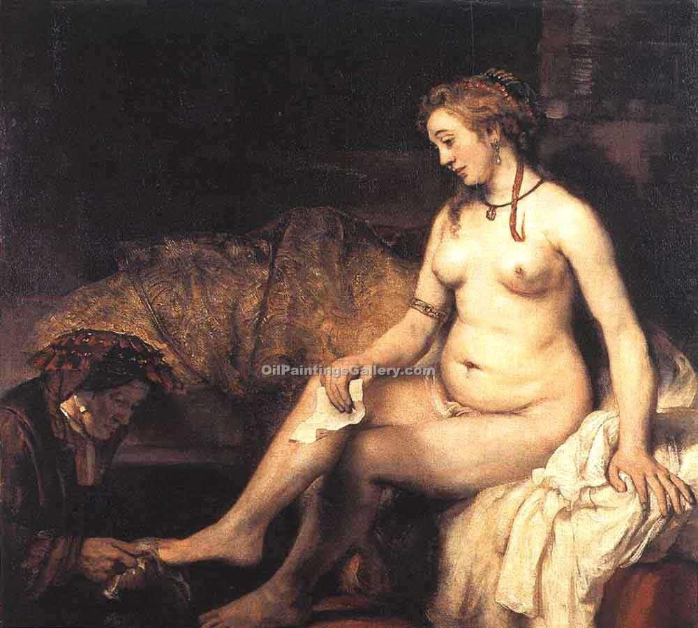 """Bathsheba at Her Bath"" by  Harmenszoonvan Van Rijn Rembrandt"