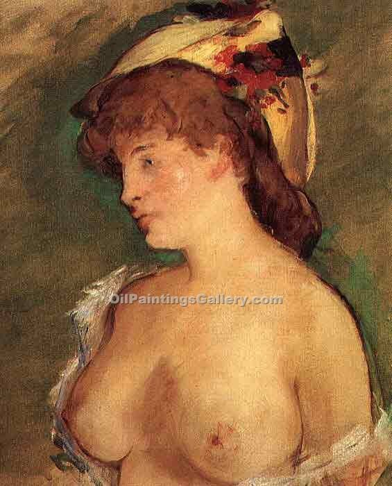 """Blond Woman with Bare Breasts"" by  Edouard Manet"