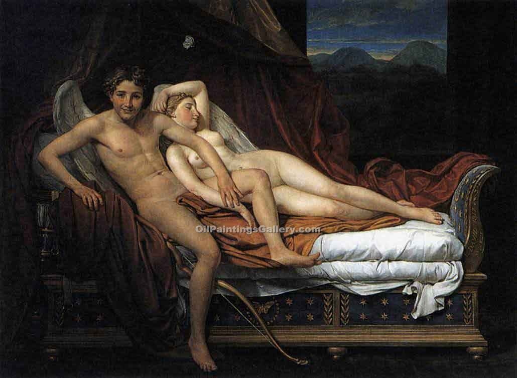 """Cupid and Psyche 55"" by  Jacques Louis David"