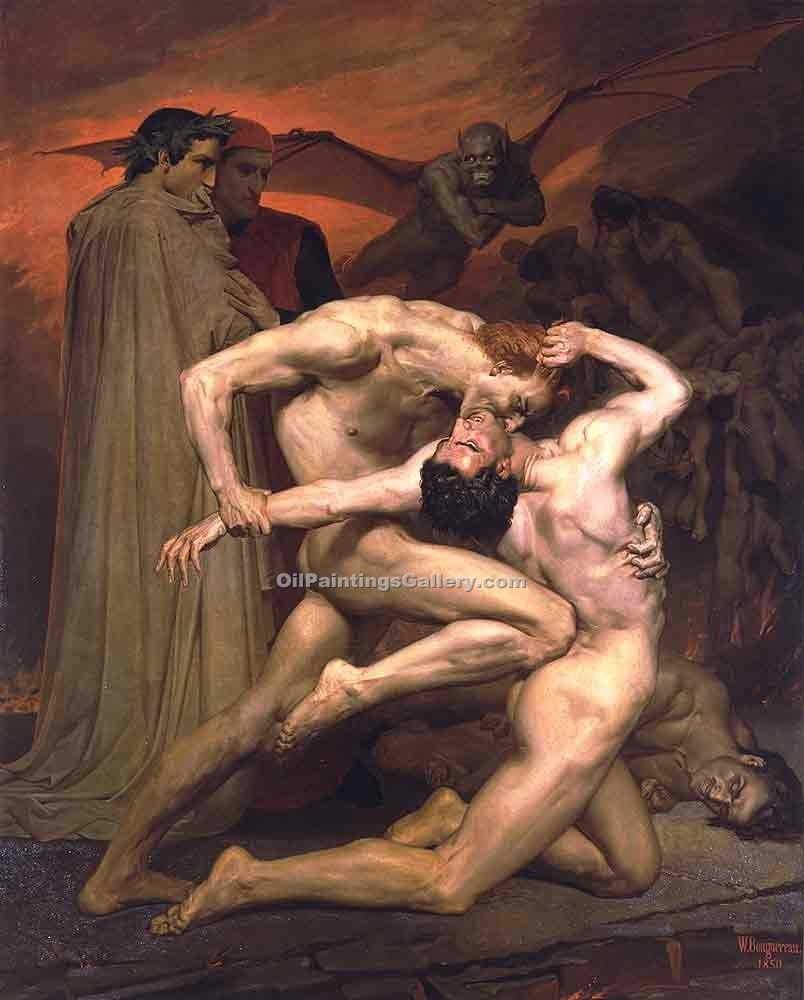 Dantet and Virgile in Hell by Bouguereau Adolphe | Modern Painting Reproductions - Oil Paintings Gallery