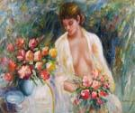 Girl with Bouquet Oil Painting (ID: EI-1019-B)