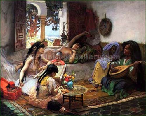 Lounging by Frederick Arthur Bridgman | Art Gallery Oil Painting - Oil Paintings Gallery