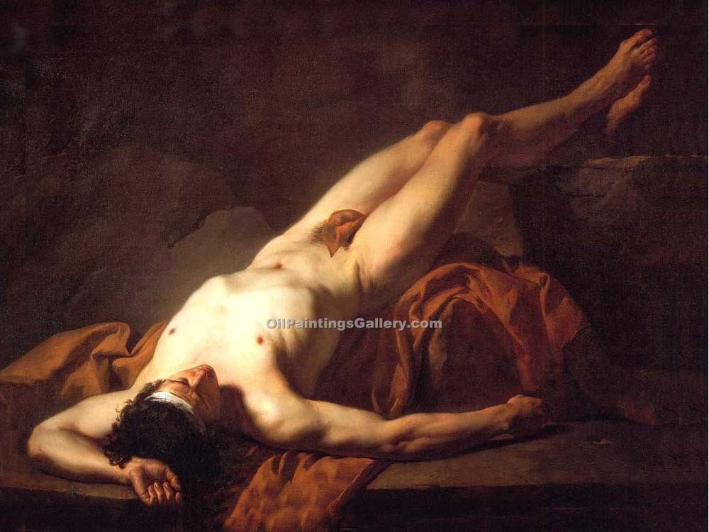 Male Nude known as Hector by David Jacques Louis | Impressionist Paintings - Oil Paintings Gallery