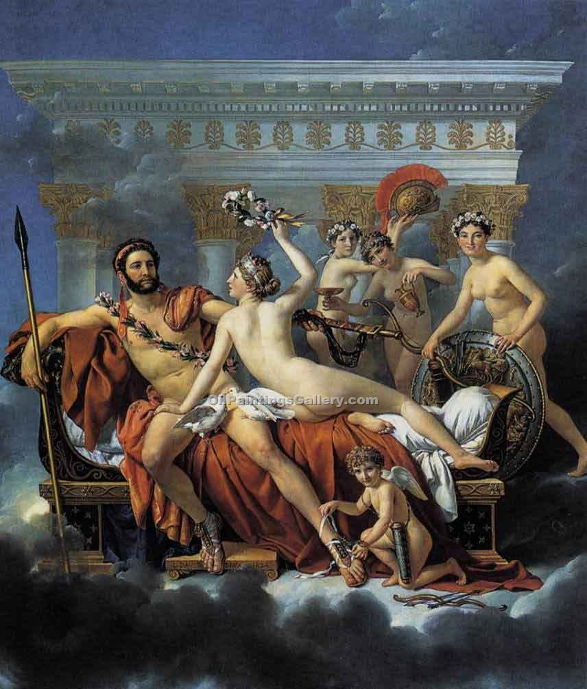 Mars Disarmed by Venus and the Three Graces by David Jacques Louis | Modern Painting Reproductions - Oil Paintings Gallery