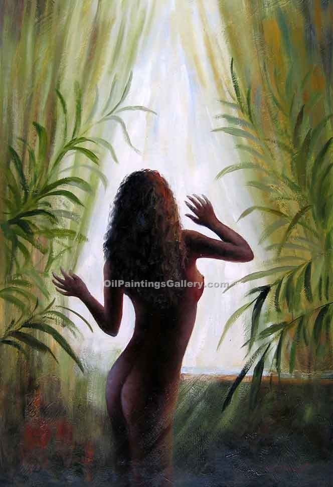 Buy Disrobe Oil Painting Online - Bathroom Paintings